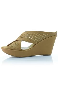 Shoptiques Product: Tan Leather Wedge