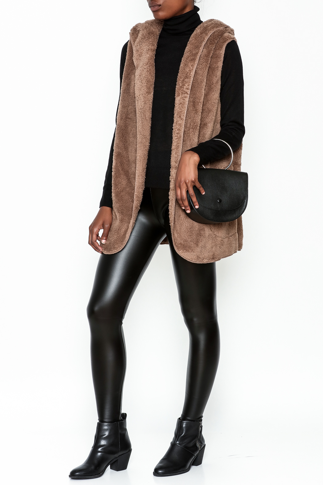 vanilla bay Fuzzy Hooded Vest - Side Cropped Image
