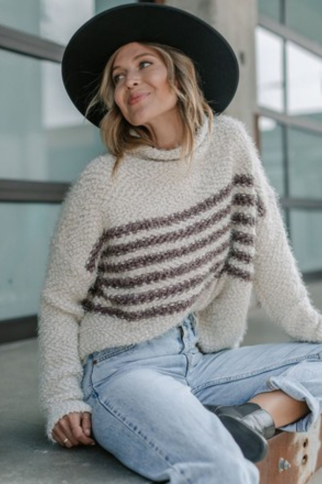 Love Stitch Vanilla & Mushroom Ultra Cozy Striped Popcorn Sweater - Main Image