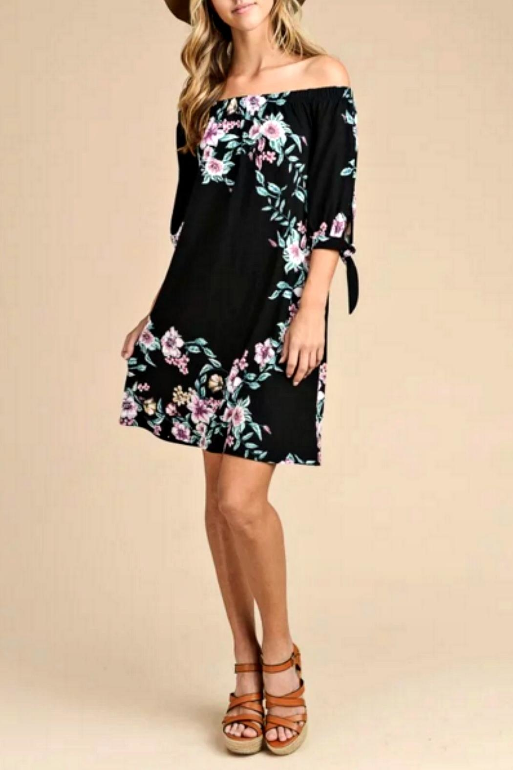 vanilla bay Black Floral Dress - Side Cropped Image