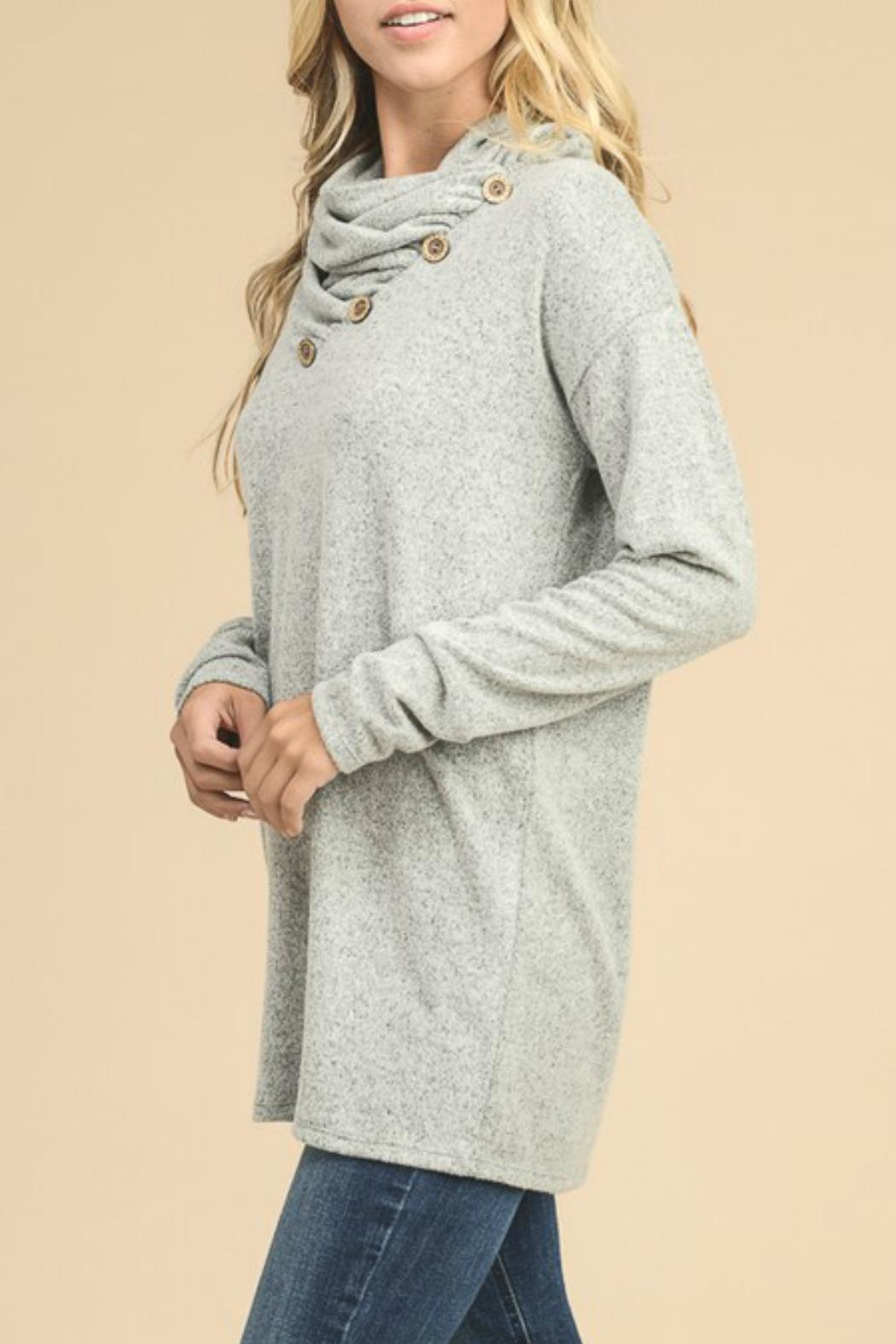 vanilla bay Button-Detail Tunic Top - Front Full Image