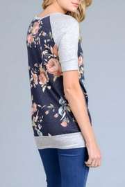 vanilla bay Floral Navy Tee - Front full body