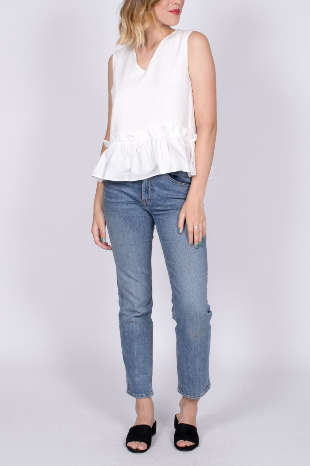 vanilla bay Ruffle Hem Top - Side Cropped Image