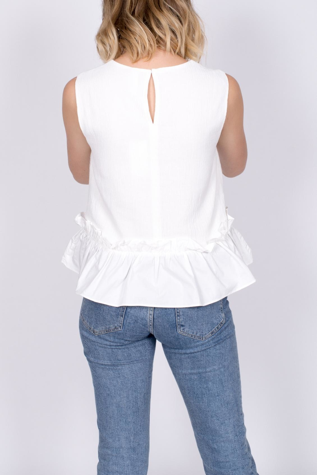 vanilla bay Ruffle Hem Top - Back Cropped Image