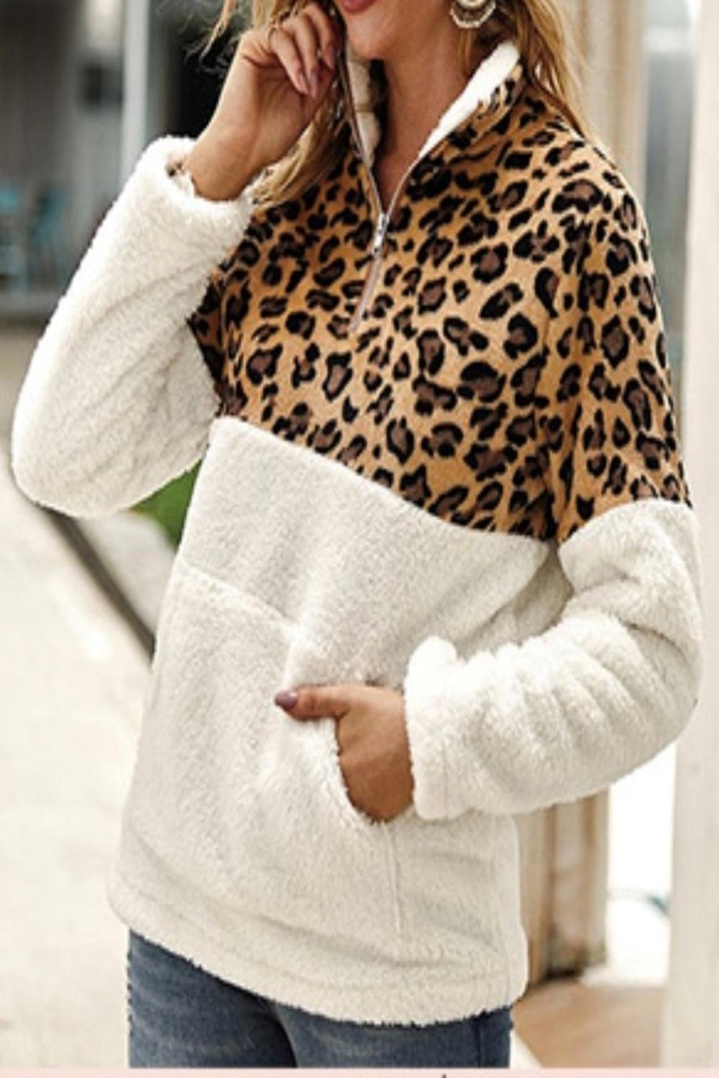 Vanilla Monkey Cozy Leopard Pullover - Front Cropped Image
