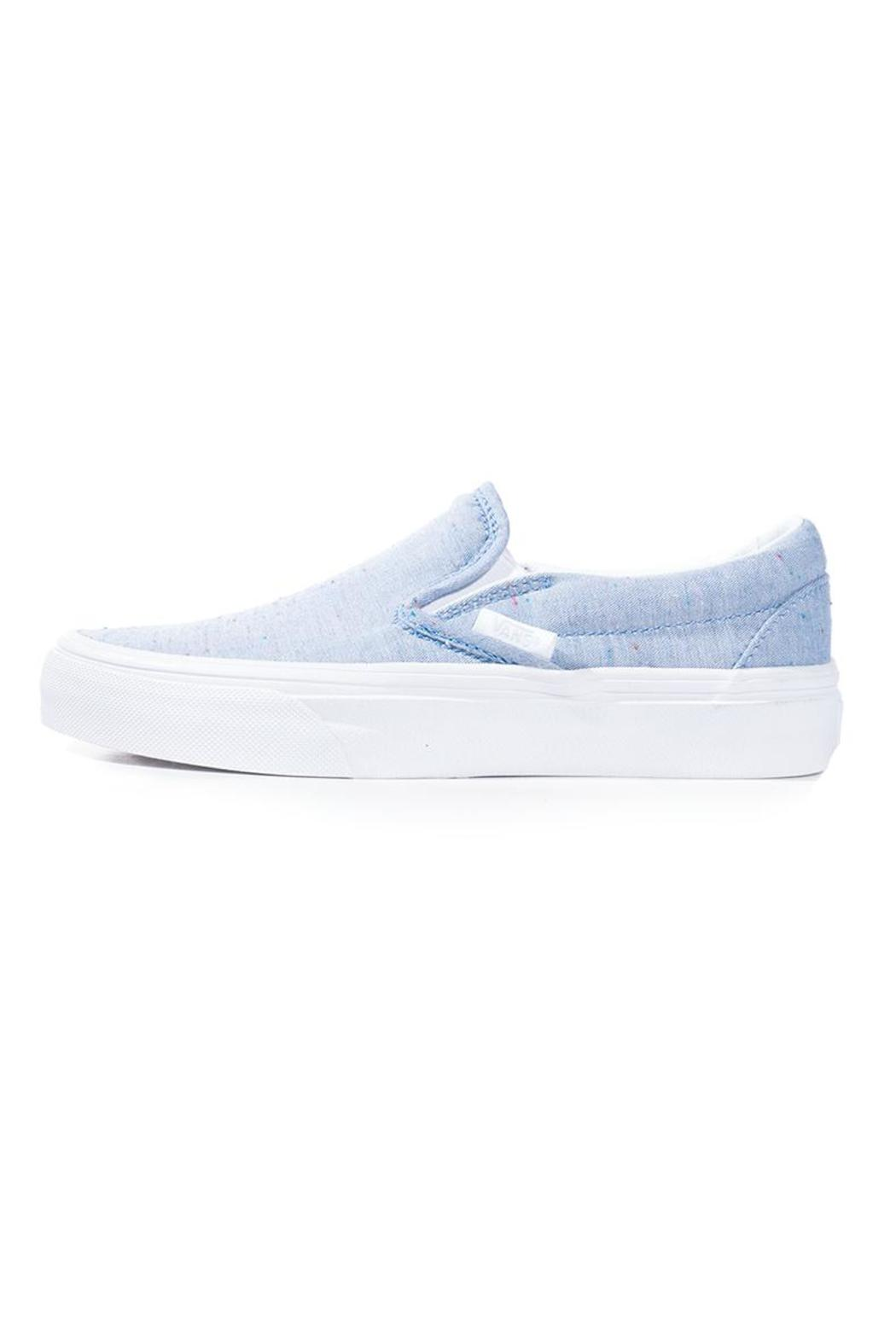 vans slip on skate shoe blue speckle