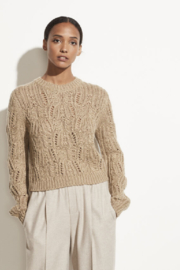 Vince Variegated Cable Crew - Front cropped