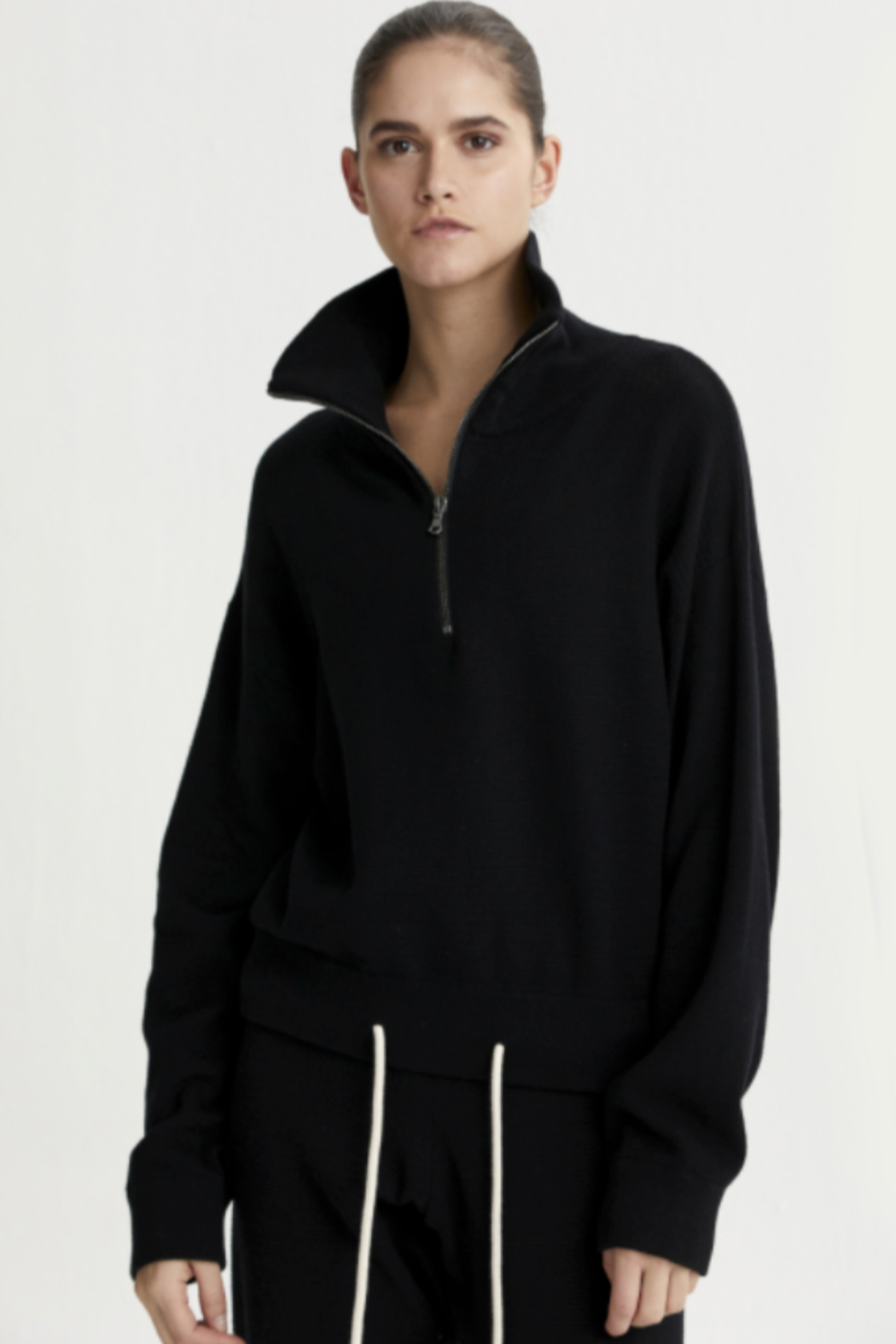 Varley black half zip sweater with draw string at the bottom - Main Image