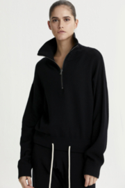 Varley black half zip sweater with draw string at the bottom - Front cropped
