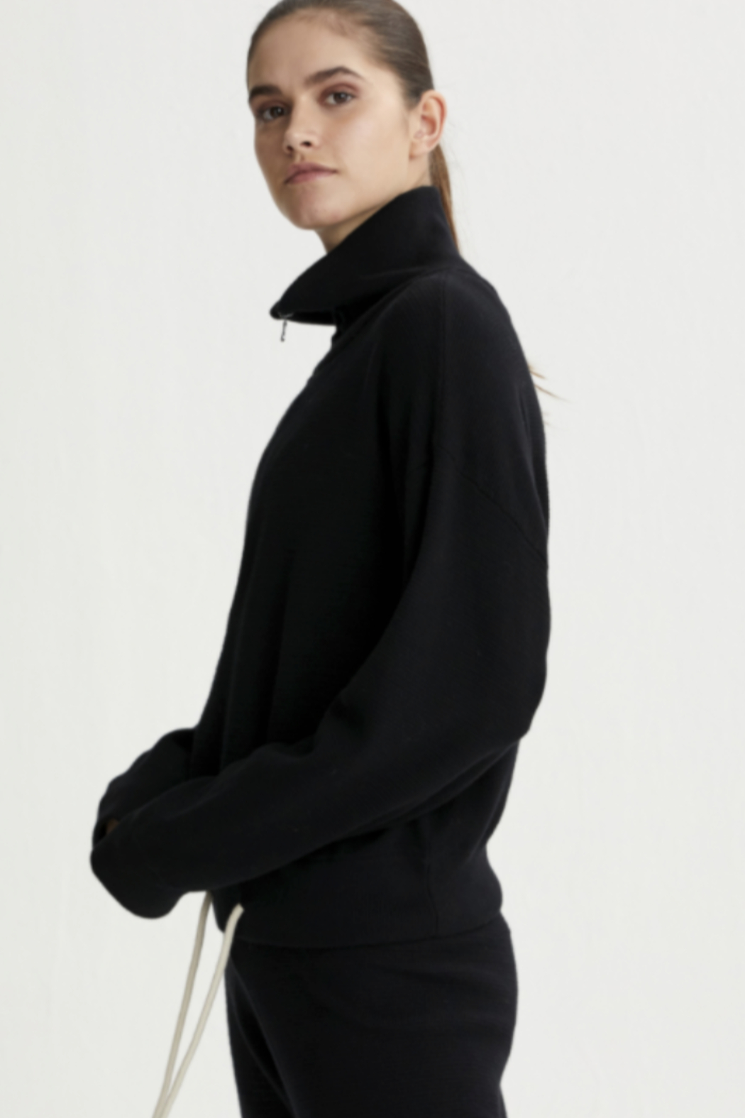 Varley black half zip sweater with draw string at the bottom - Side Cropped Image