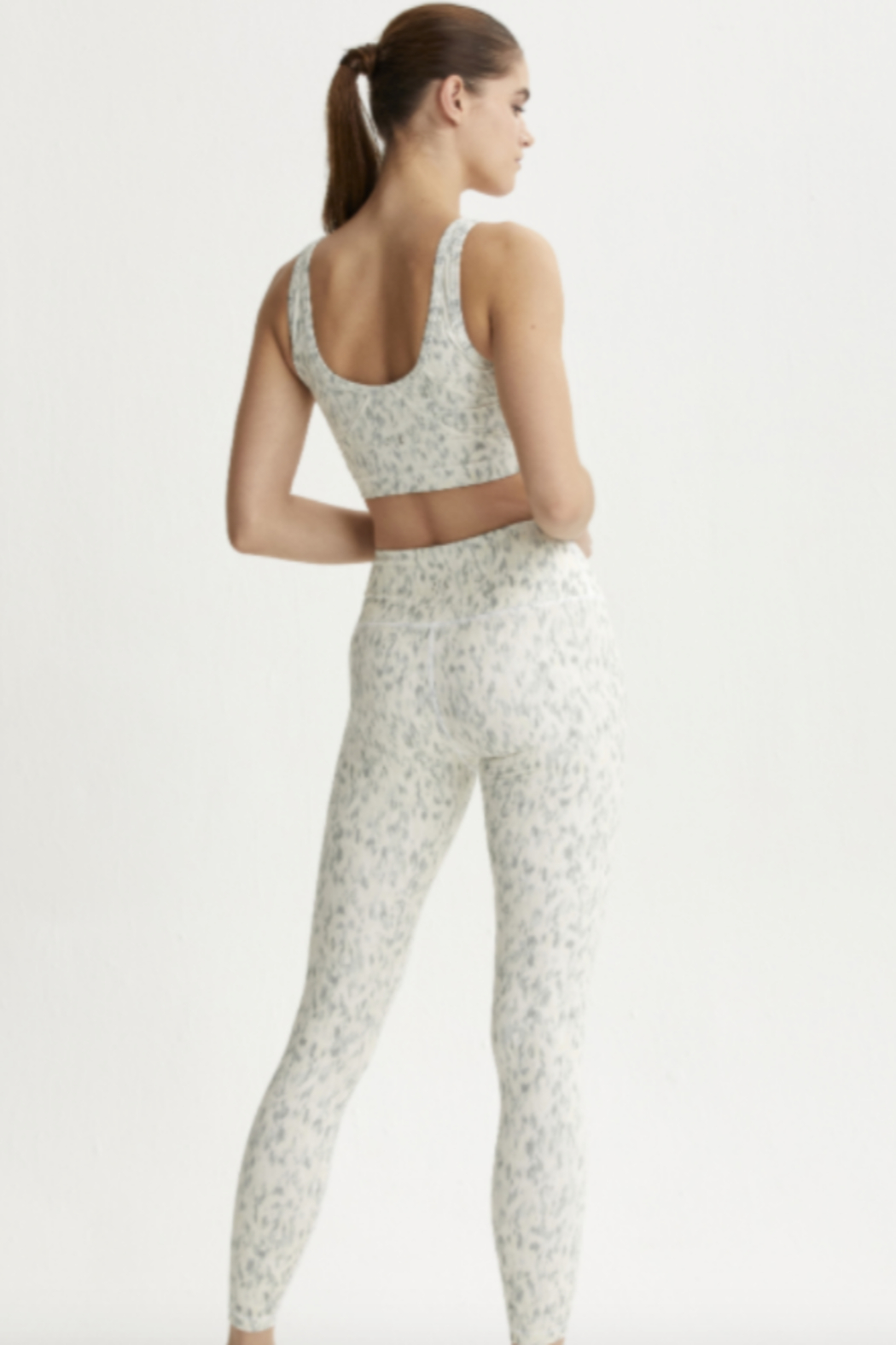 Varley Mint Green Confetti Printed legging - Front Full Image