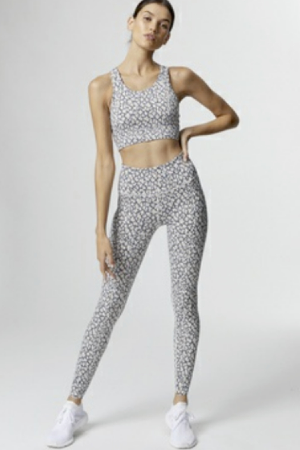 Varley Soft Grey & Beige Mini Cheetah leggings - Front Cropped Image