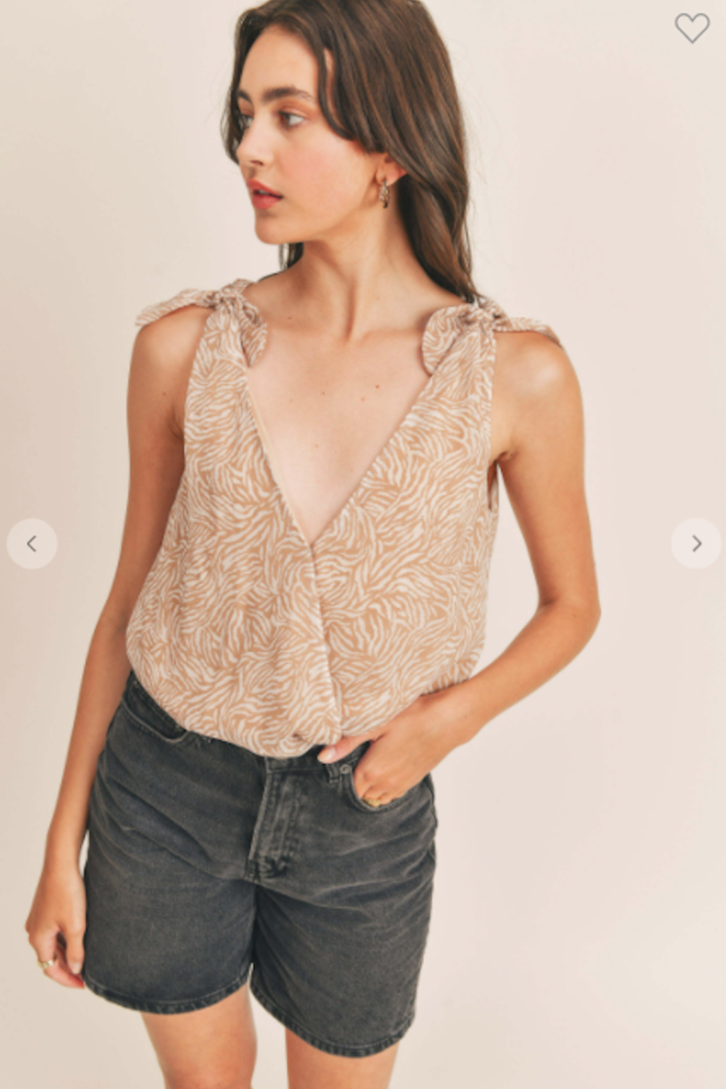 Lush  Valerie Printed Tie Strap Bodysuit - Front Cropped Image