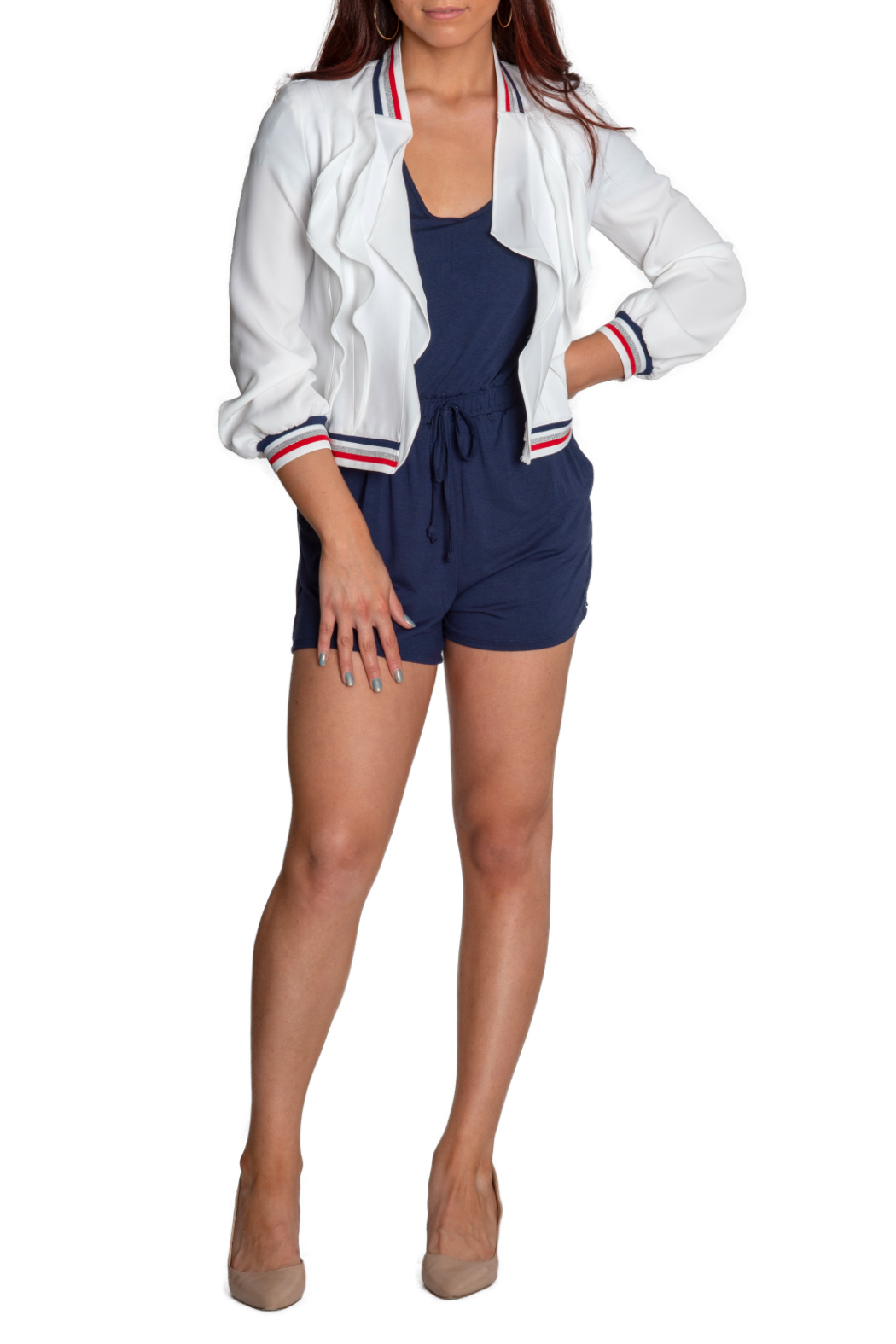 Insight Varsity Stripe Collar Ruffle Front Jacket - Back Cropped Image