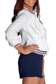 Insight Varsity Stripe Collar Ruffle Front Jacket - Front full body