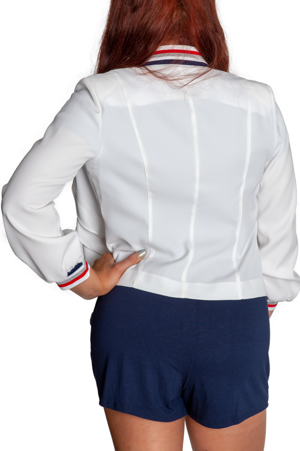 Insight Varsity Stripe Collar Ruffle Front Jacket - Side Cropped Image
