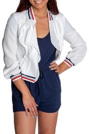 Insight Varsity Stripe Collar Ruffle Front Jacket - Product Mini Image