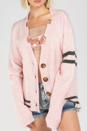 Pol Clothing Varsity Stripe Distressd Buttondown Cardigan - Product Mini Image