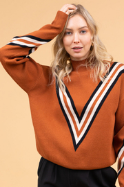 Gilli  Varsity Stripe Sweater - Front cropped