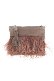 Vash  VASH LULU PECAN FEATHER CLUTCH - Product Mini Image