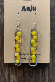 Anju Handcrafted Artisan Jewelry Vasket Weave with  Stone - Long Silver Earrings - Front full body