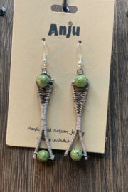 Anju Handcrafted Artisan Jewelry Vasket Weave with  Stone - Long Silver Earrings - Front cropped