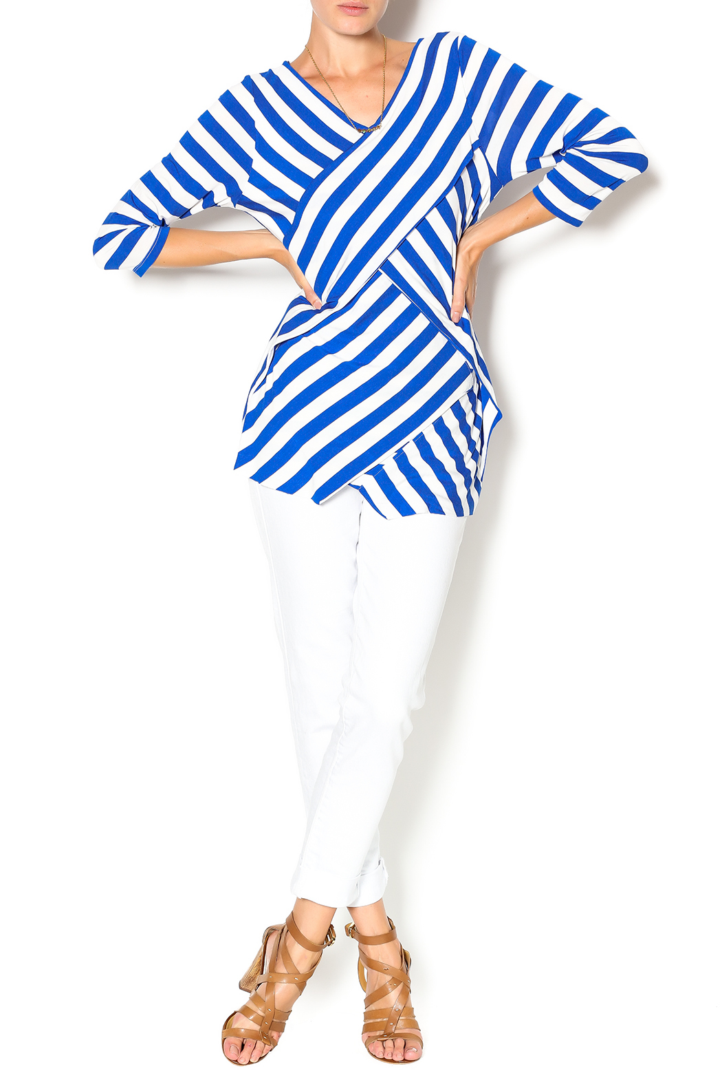 Vecceli Italy Striped Tunic - Front Full Image