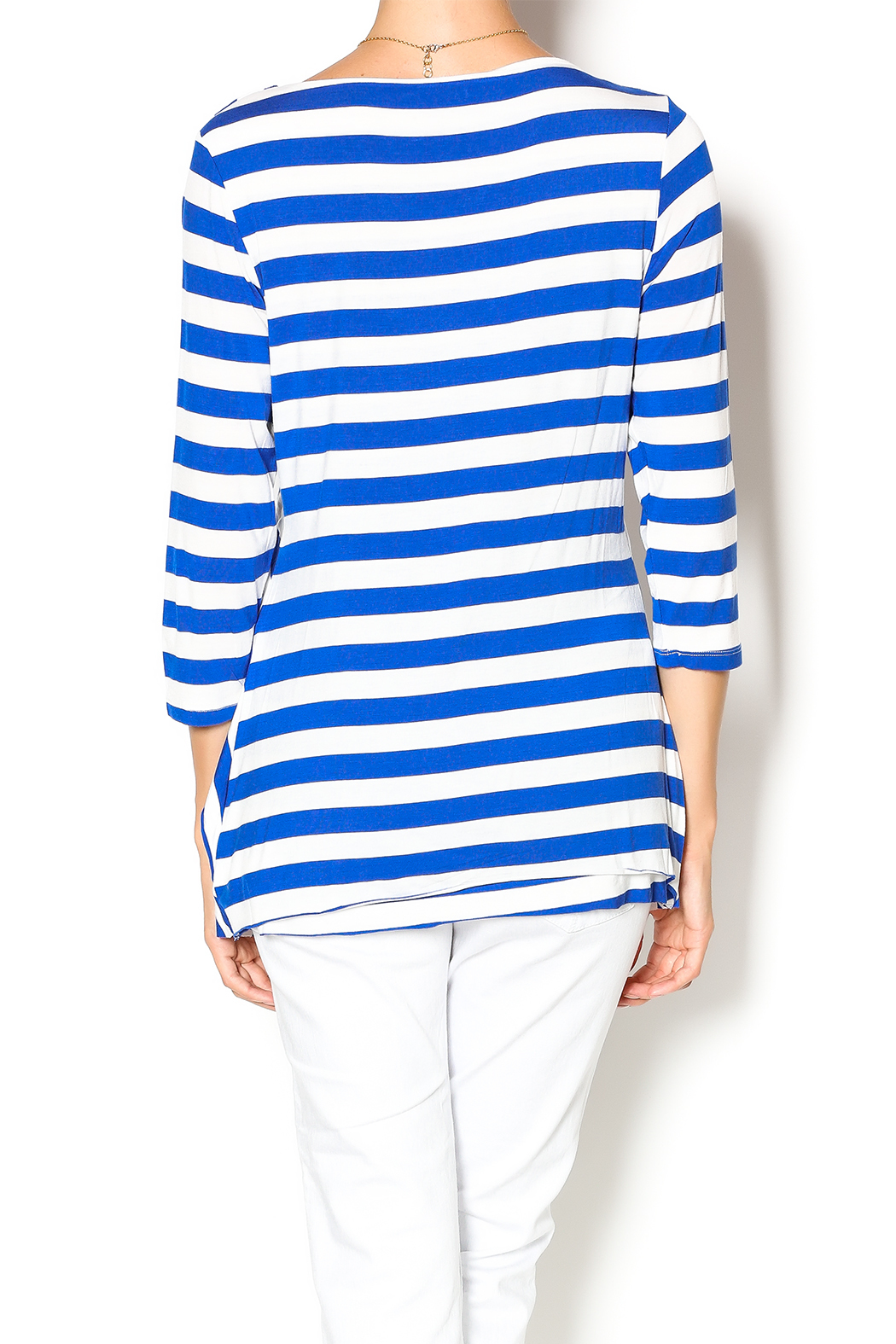Vecceli Italy Striped Tunic - Back Cropped Image