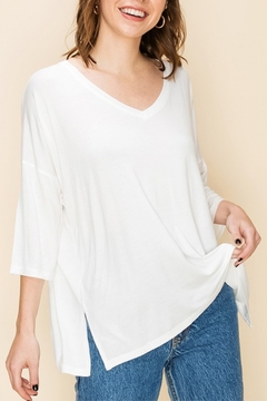 Shoptiques Product: Vee Front Side Slit Tee