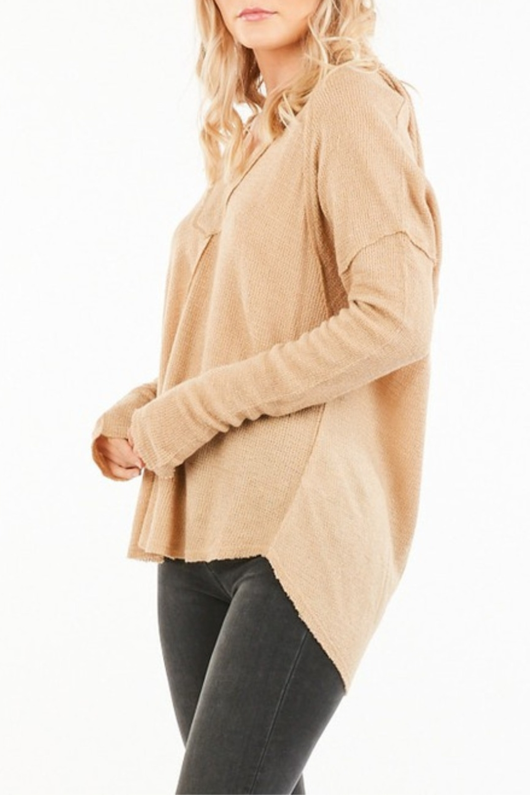 Very J Vee Waffle Knit Top - Side Cropped Image