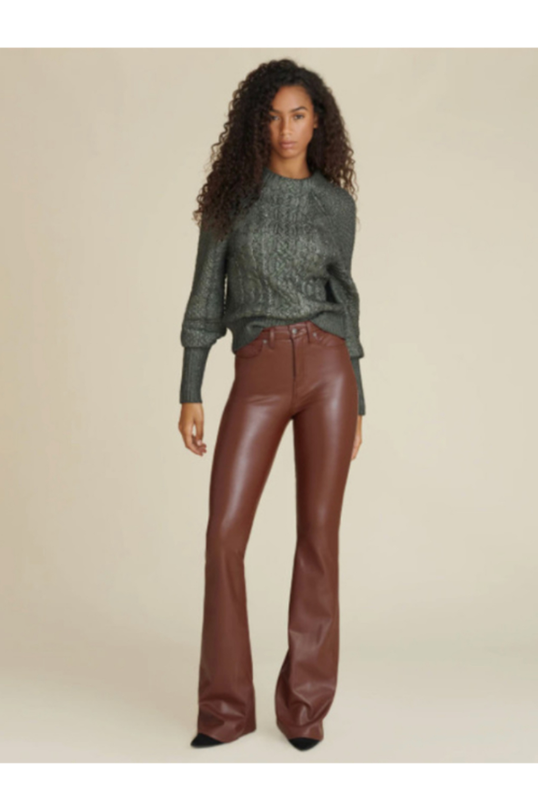 Veronica Beard Vegan Leather Beverly High Rise Flare - Front Full Image