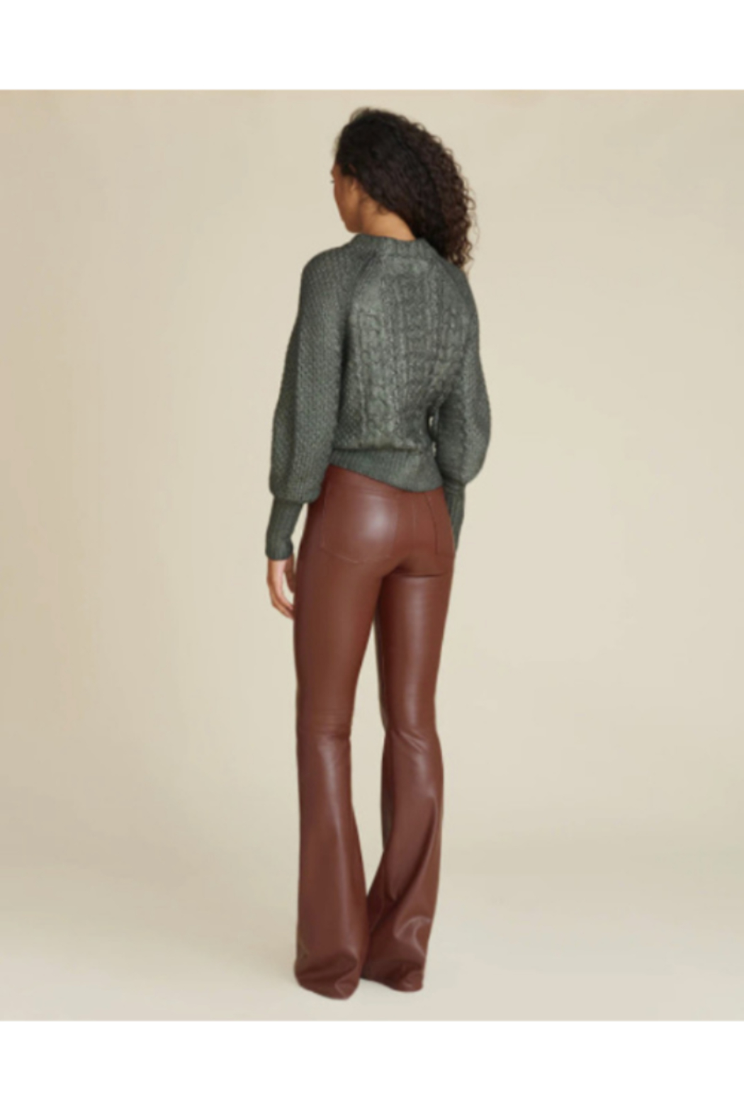 Veronica Beard Vegan Leather Beverly High Rise Flare - Back Cropped Image