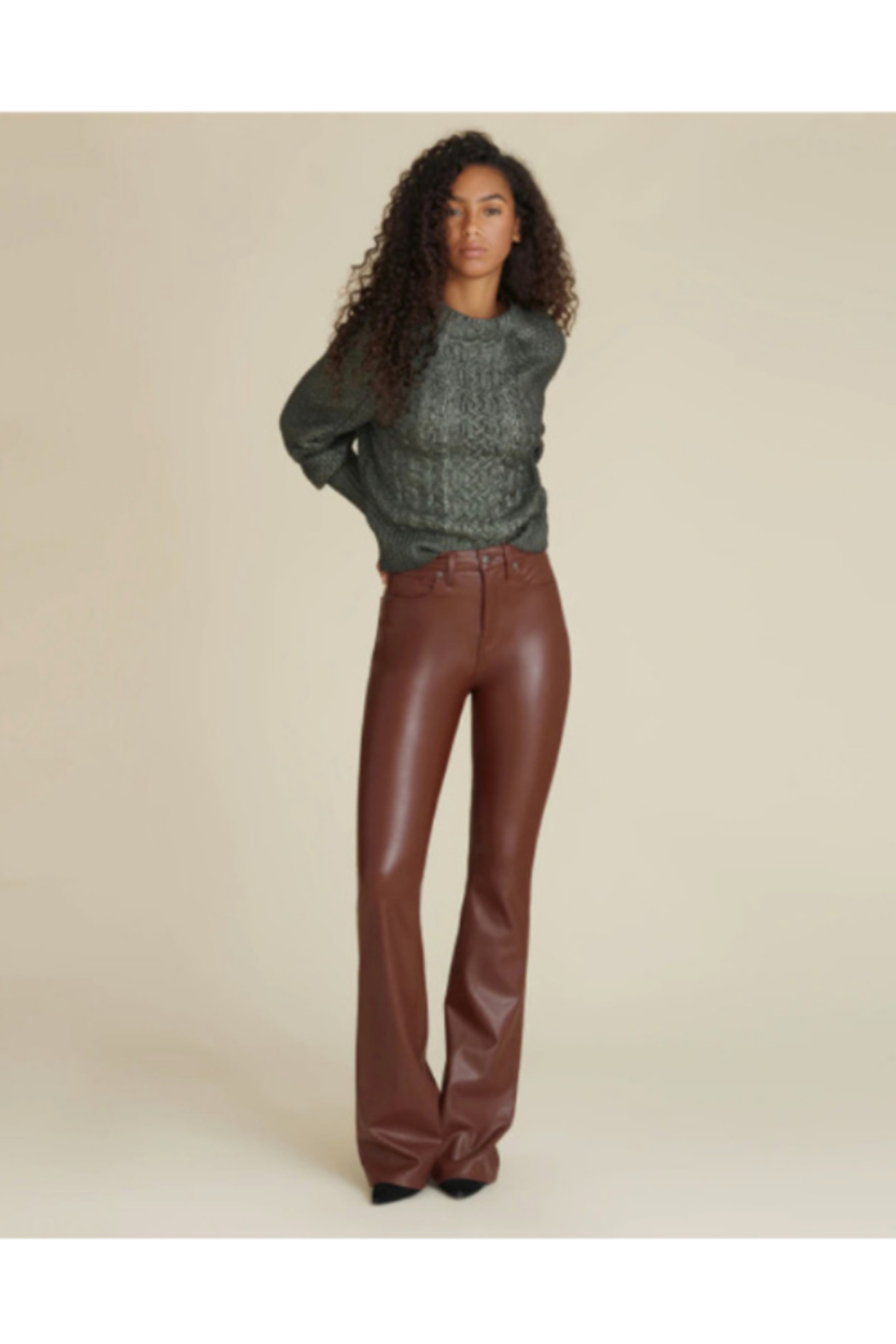 Veronica Beard Vegan Leather Beverly High Rise Flare - Side Cropped Image
