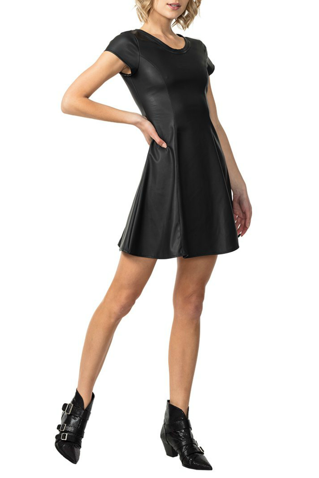 Astars Vegan Leather Black Stretch Dress - Front Cropped Image