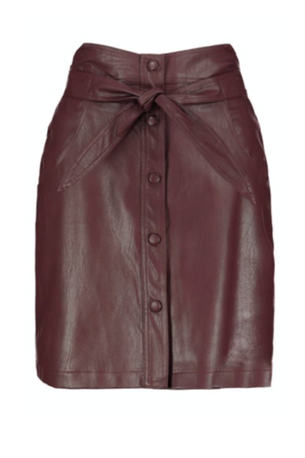Bishop + Young Vegan Leather Button Front Skirt - Main Image