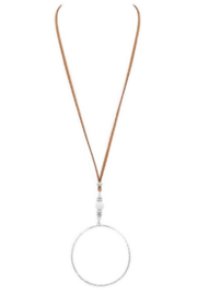 Art Box Vegan Leather Circle Pendant Necklace - Front cropped