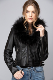 Coalition Vegan Leather Jacket with Faux Fur Collar - Product Mini Image