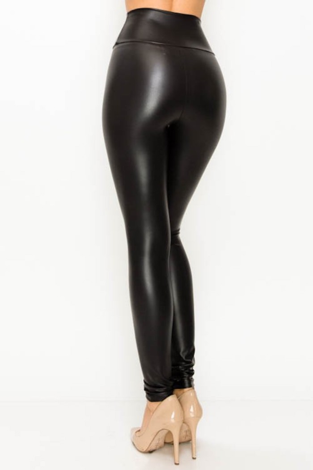 American Fit Vegan Leather leggings - Side Cropped Image