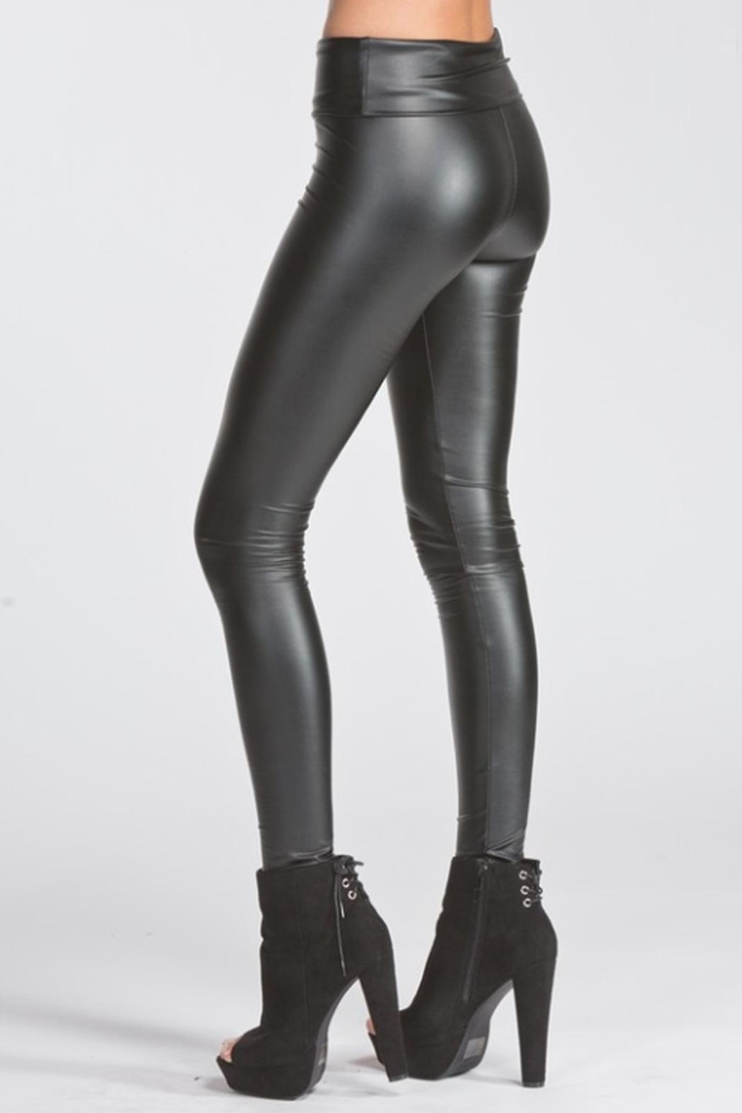 Runway & Rose Vegan Leather Leggings - Front Full Image
