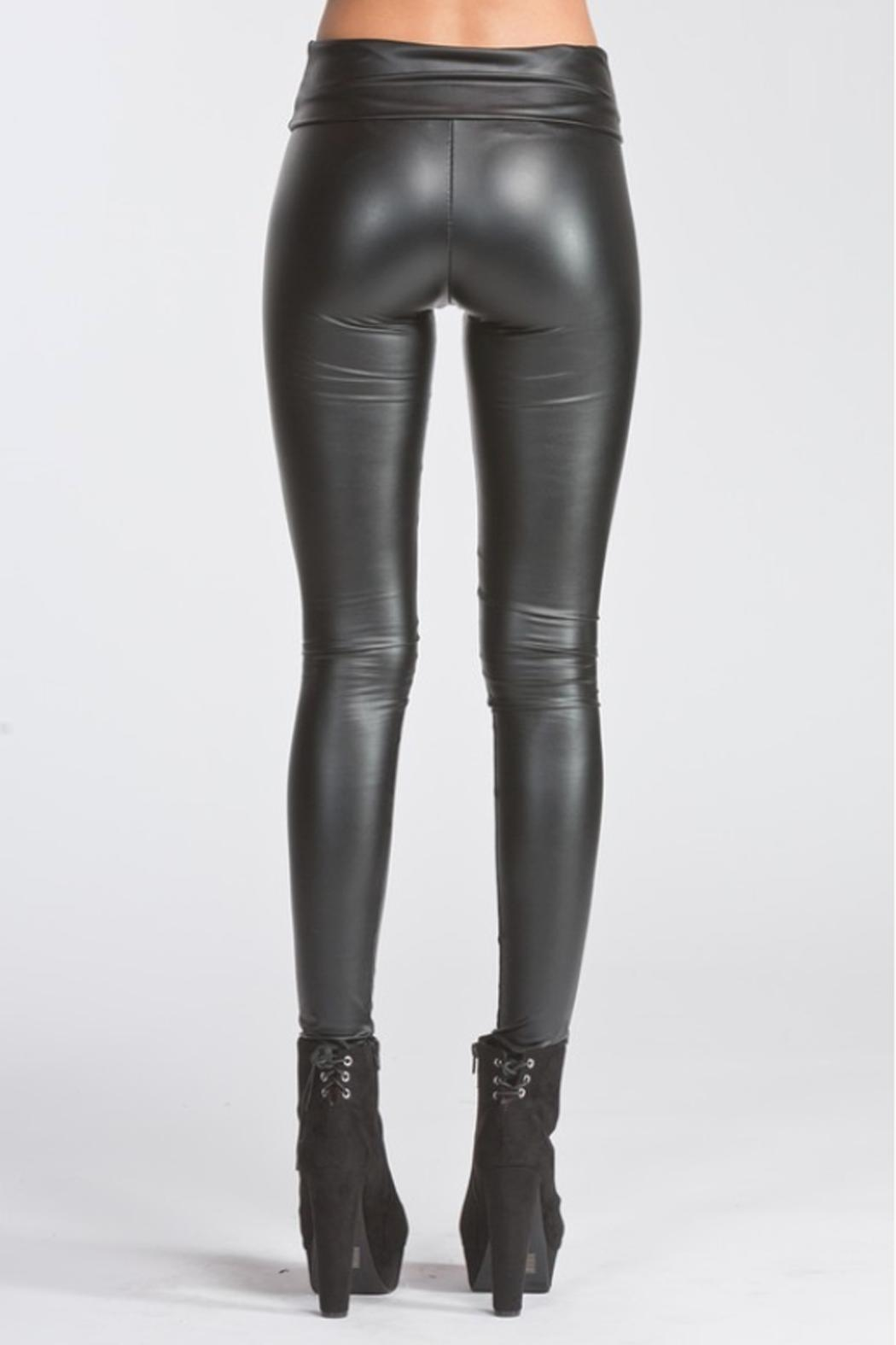 Runway & Rose Vegan Leather Leggings - Side Cropped Image