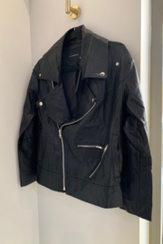 Olivaceous  Vegan Leather Moto Jacket - Front cropped