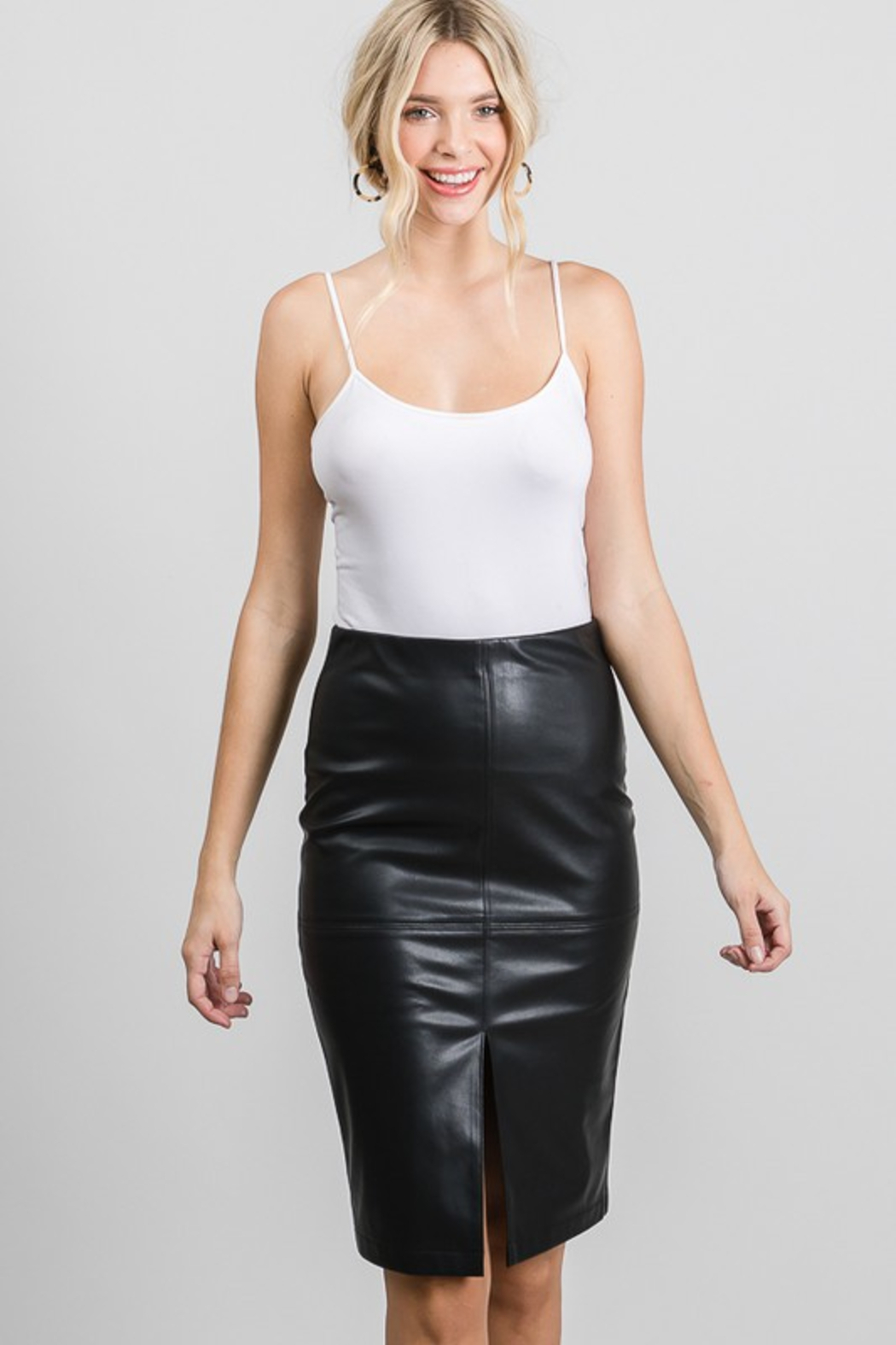 AAAAA Fashion Vegan Leather Pencil Skirt - Front Cropped Image