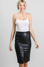 AAAAA Fashion Vegan Leather Pencil Skirt - Front cropped