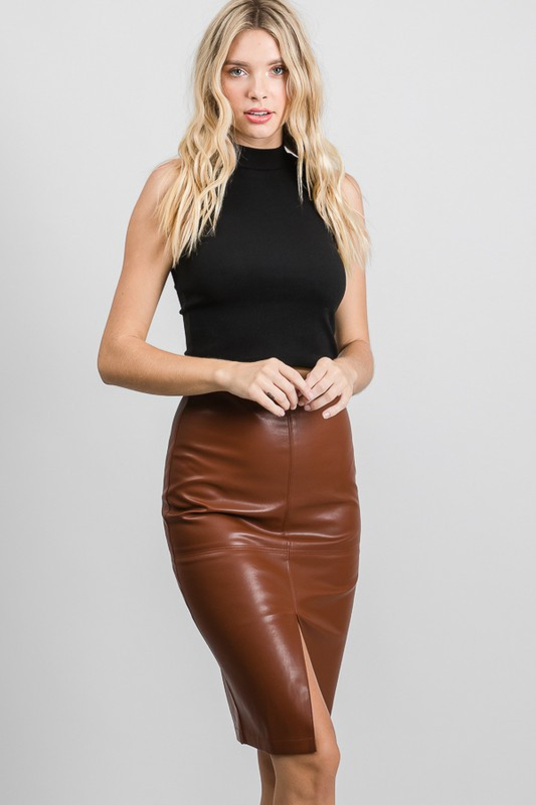 AAAAA Fashion Vegan Leather Pencil Skirt - Back Cropped Image