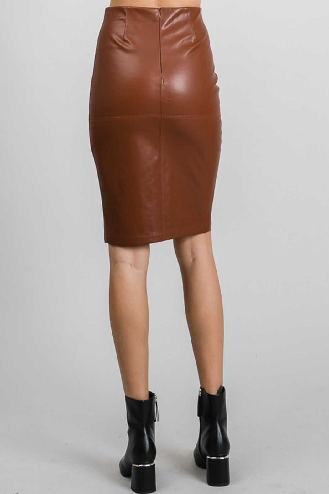 AAAAA Fashion Vegan Leather Pencil Skirt - Side Cropped Image