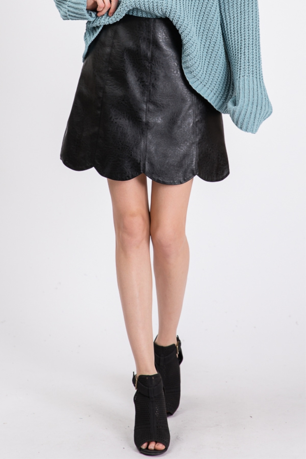 Lyn -Maree's Vegan Leather Scallop Skirt - Front Full Image