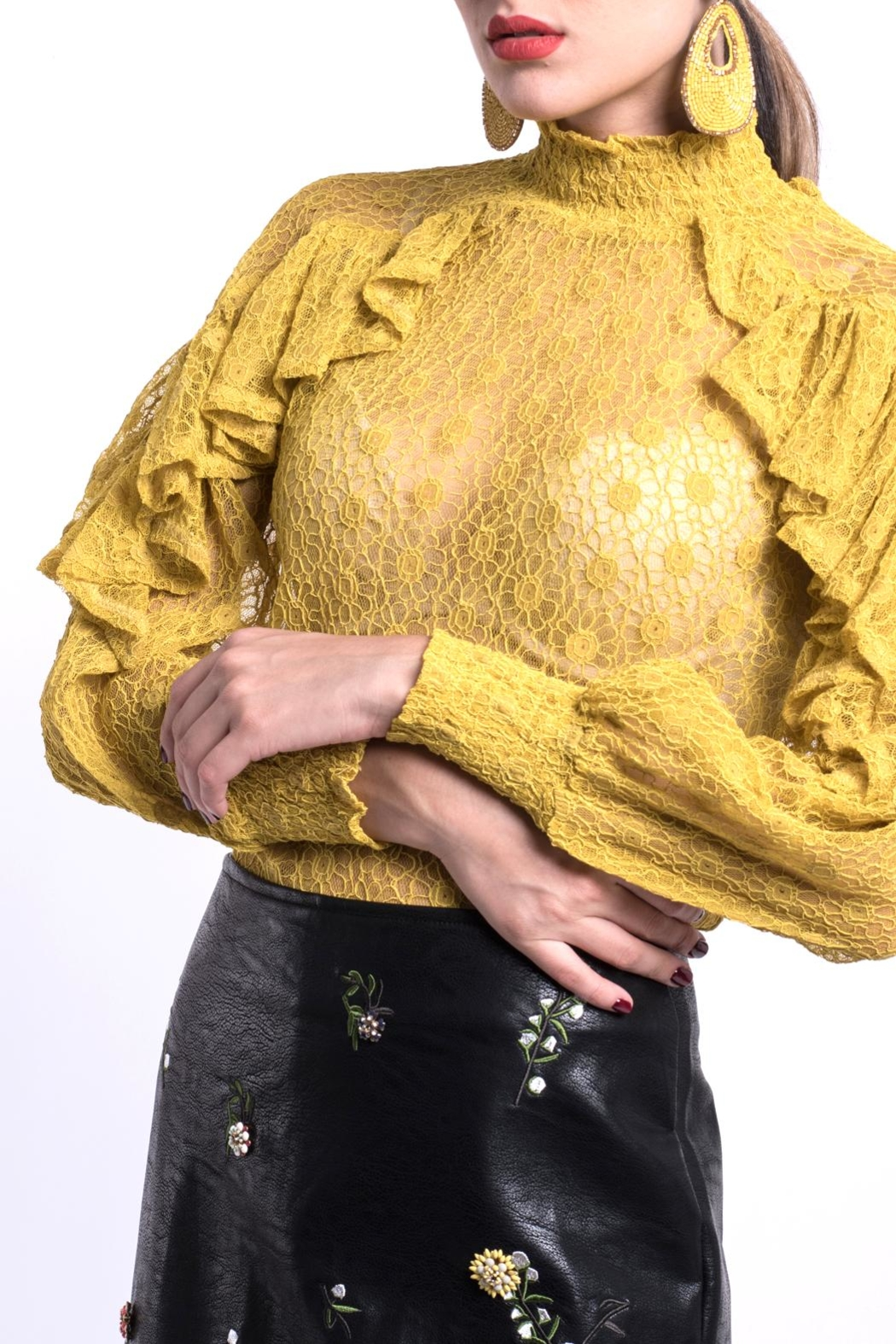 DOLCICIMO Vegan Leather Skirt - Front Full Image