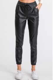 Ethan & Joy  Vegan Leather Track Pant - Product Mini Image