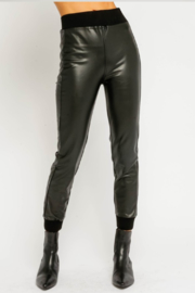 Olivaceous  Vegan LeatherJoggers - Product Mini Image