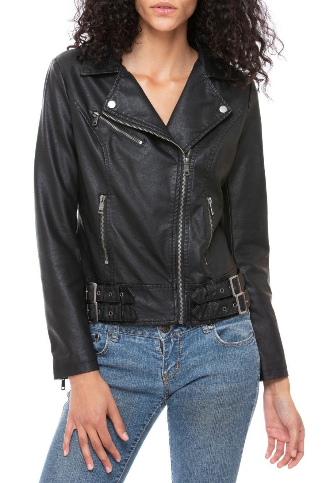 Coalition LA Vegan Moto Jacket - Back Cropped Image